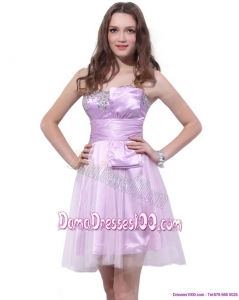Lilac Strapless Mini Length 2015 Fabulous Dama Dresses with Ruffles and Beading