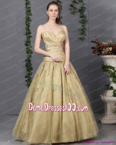 Luxurious 2015 Spaghetti Straps Champagne Long Dama Dress with Ruching and Beading