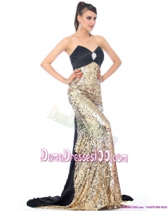 Luxurious Brush Train 2015 Fabulous Dama Dresses with Ruching and Sequins