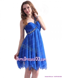 Perfect Blue One Shoulder Dama Dresses with Ruffles