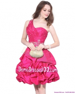 Perfect One Shoulder Beading Fabulous Dama Dresses with Pick Ups