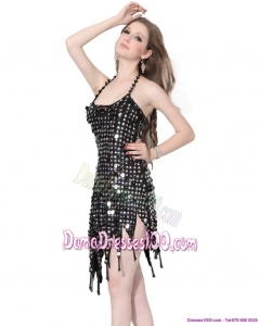 Popular Halter Top Black 2015 Prom Dress with Sequins