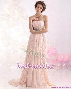 Popular Strapless Sequins and Lace Fabulous Dama Dresses with Brush Train
