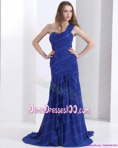 Pretty 2015 One Shoulder Long Dama Dress with Ruching and Beading