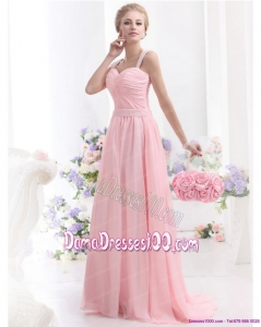 Remarkable 2015 Baby Pink Long Dama Dress with Brush Train and Ruching