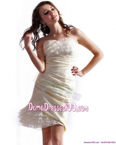 Unique Strapless Mini Length Fabulous Dama Dresses with Ruching
