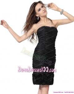Wonderful 2015 Strapless Black Fabulous Dama Dresses with Hand Made Flowers and Ruching