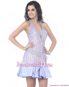 Wonderful Sequined Halter Top Mini Length Fabulous Dama Dresses for 2015