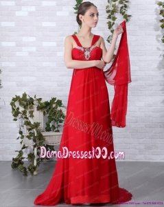 2015 Beautiful Empire Red Plus Size Dama Dress with Brush Train and Beading