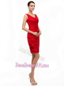 2015 Elegant Mini Length Red Plus Size Dama Dresses with Ruching