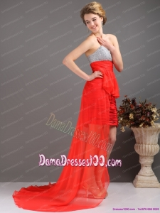 Brush Train Red High Low Dama Dresses with Ruching and Beading
