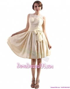 Elegant High Neck Plus Size Dama Dresses with Ruching and Bowknot