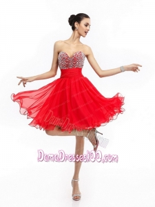 Elegant Sweetheart Short Plus Size Dama Dresses with Rhinestones and Ruching