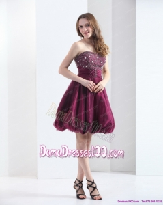 Perfect Wine Red Strapless Short Plus Size Dama Dresses with Beading