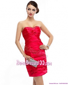 Red Strapless 2015 Plus Size Dama Dresses with Ruching and Beading