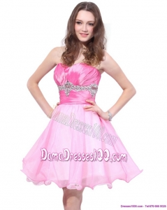 Rose Pink 2015 Mini Length Plus Size Dama Dresses with Beading and Ruching