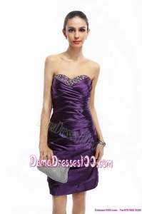 Sweetheart Mini Length Plus Size Dama Dresses with Ruching and Beading