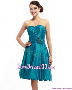 Ruching Sweetheart Dama Dresses with Hand Made Flowers