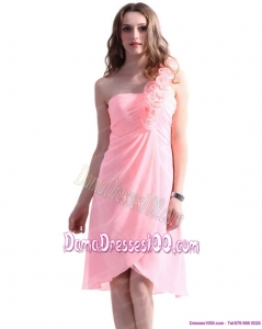 Baby Pink One Shoulder Dama Dresses with Ruching and Hand Made Flowers