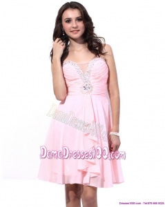Fashional Baby Pink Dama Dresses with Beading and Ruching