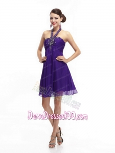 Purple Beading Halter Top 2015 Dama Dresses with Ruching