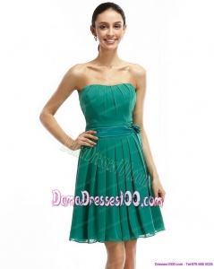 Strapless Ruching and Sash 2015 Short Dama Dresses in Turquosie