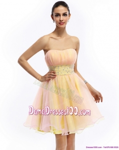 2015 Beautiful Strapless Multi Color Dama Dresses with Beading and Ruching