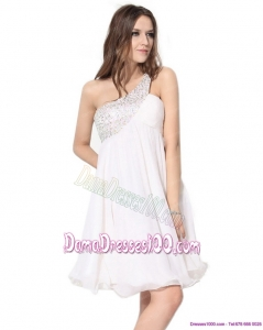 Free and Easy One Shoulder Beading Dama Dresses in White
