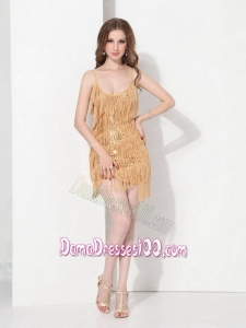 Short Burgundy and Gold Sweet 15 Dama Dresses