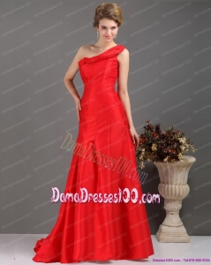 One Shoulder Pleated Red Dama Dress with Brush Train