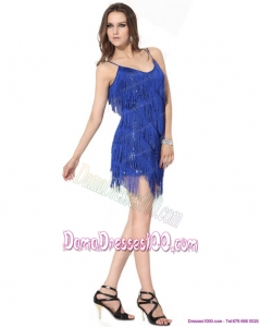 Spaghetti Straps Short Dama Dresses with Sequins and Macrame