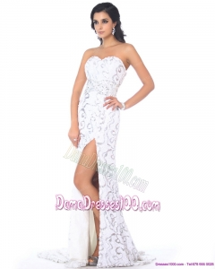 2015 Sexy Sweetheart Printed White Dama Dresses with High Slit