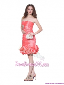 Perfect Strapless Watermelon Red Dama Dresses with Beadings and Ruching