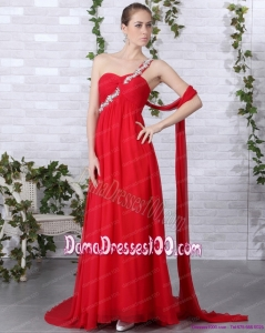 Popular 2015 One Shoulder Red Dama Dresses with Beadings and Brush Train