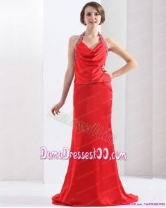 Remarkable Backless Halter Top Dama Dresses in Coral Red