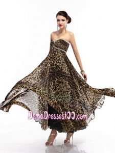 Cheap Sweetheart Leopard Floor Length Dama Dress for 2015