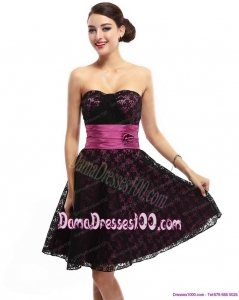 Lovely Sweetheart Mini Length Dama Dress with Lace and Hand Made Flowers