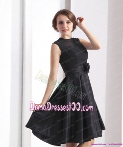 2015 Perfect Black Knee Length Dama Dress with Bowknot