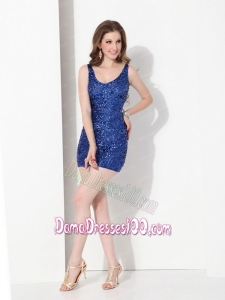 2015 Popular Sequins Scoop Dama Dress in Blue