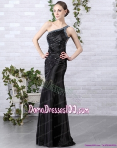 Elegant 2015 One Shoulder Black Dama Dress with Beading