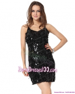 Gorgeous 2015 Black Spaghetti Straps Dama Dress with Sequins