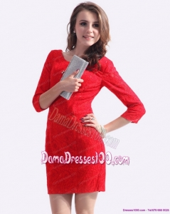 New Style Red Mini Length 2015 Dama Dress with Lace