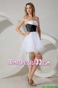 Luxurious Beaded White and Black Short Dama Dress in Organza