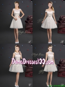 Cheap Applique and Laced Knee Length Dama Dress in Champagne