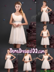 Discount Empire Chiffon Ruched Short Dama Dress in Champagne