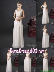 Elegant Laced and Belted Chiffon Long Dama Dress in Off White