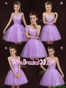 Fashionable Lilac Short Dama Dress with Lace and Ruching