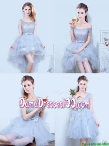 Gorgeous Organza Grey Dama Dress with Lace and Bowknot