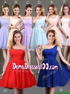 New Style One Shoulder Beaded Dama Dress in Chiffon