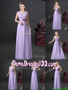 Simple Chiffon Lavender Long Dama Dress with Lace and Belt